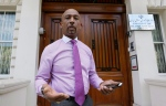 American television personality Montel Williams speaks to media outside the Iranian Embassy in London, Friday, June 26, 2015. (AP Photo/Kirsty Wigglesworth)