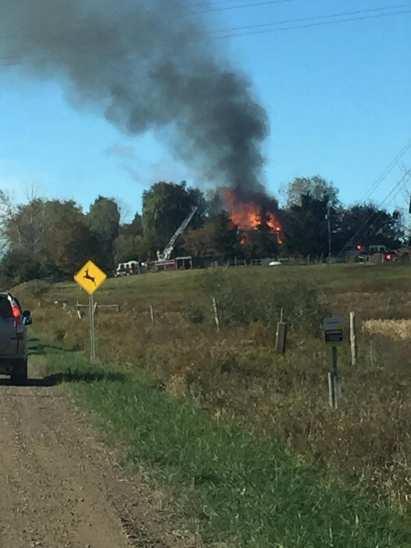 Crews battle a fire north west of Schomberg on Thursday morning. (Courtesy: @RobFoster03)