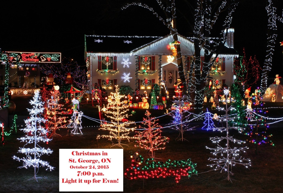 A home is shown decorated with Christmas lights in this cover image promoting an campaign for a terminally ill boy in St. George, Ont. (Facebook / Christmas in St. George)