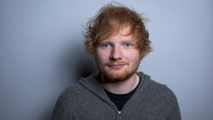 "In this Friday, Oct. 16, 2015 photo, Ed Sheeran poses for a portrait in promotion of his full-length concert feature, ""Ed Sheeran: Jumpers for Goalposts,"" in New York. (Photo by Drew Gurian/Invision/AP)"