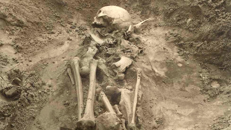 In this undated photo released by Cell journal, the Sope I grave in Estonia, where plague DNA was found in a tooth from this individual and is the earliest evidence of plague found in Europe. (Harri Moora / Cell 2015 via AP)