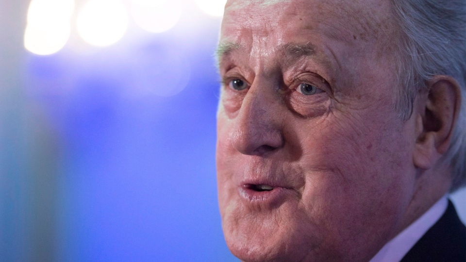 Former prime minister Brian Mulroney speaks to reporters following a dinner gala in Montreal, Wednesday, June 3, 2015. (THE CANADIAN PRESS/Graham Hughes)