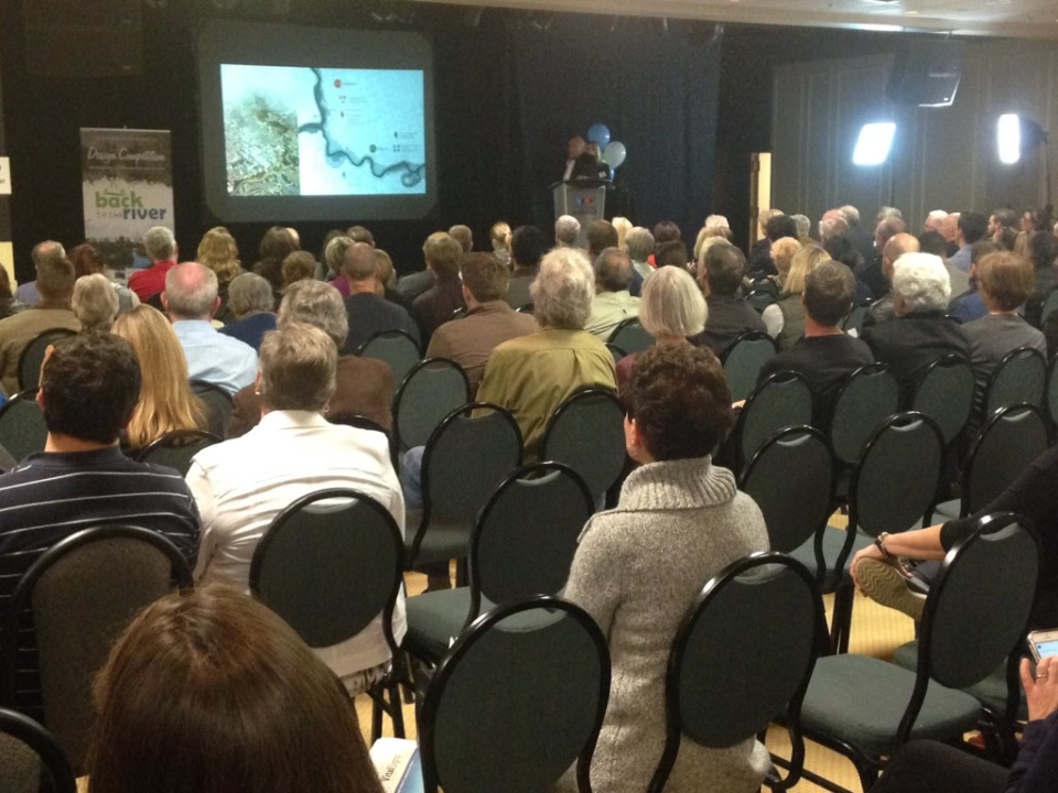 Residents get a first look at the designs submitted by finalists in the 'Back to the River' contest in London, Ont. on Thursday, Oct. 22, 2015. (Daryl Newcombe / CTV London)