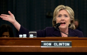 Democratic presidential candidate former Secretary of State Hillary Rodham Clinton testifies on Capitol Hill in Washington, Thursday, Oct. 22, 2015, before the House Select Committee on Benghazi. (AP / Carolyn Kaster)