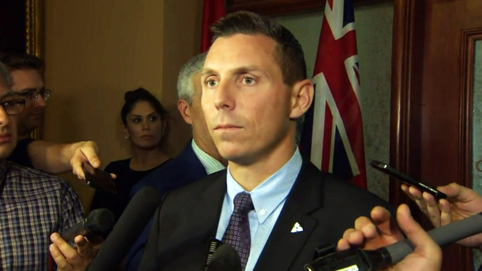 Ontario Conservative Leader Patrick Brown speaks to reporters at Queen's Park on Friday, Oct. 23, 2015.
