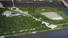 An artist's conception of the Jean Drapeau Park am