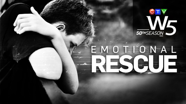 Black and white image of despondent teen. Text reads Emotional Rescue