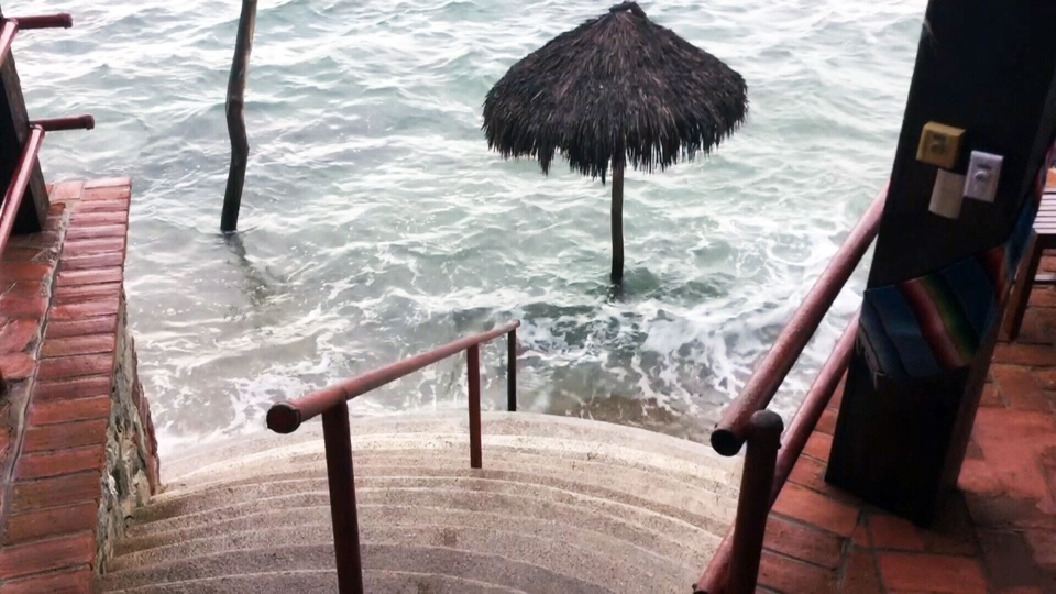 A flooded resort in Puerto Vallarta, Mexico after Hurricane Patricia hit Saturday, Oct. 24, 2015. (Maninder Chana / CTV News)