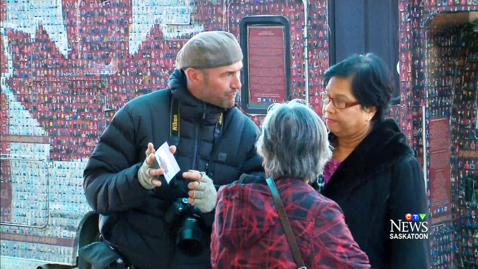 Photographer Tim Van Horn works on his Canadian Mosaic project.