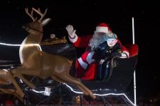 Evan Leversage rides in sleigh
