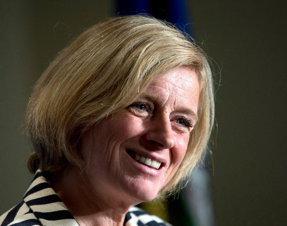 Alberta Premier Rachel Notley speaks following a business luncheon in Calgary, Alberta, on Oct. 9, 2015 (Larry MacDougal / The Canadian Press)