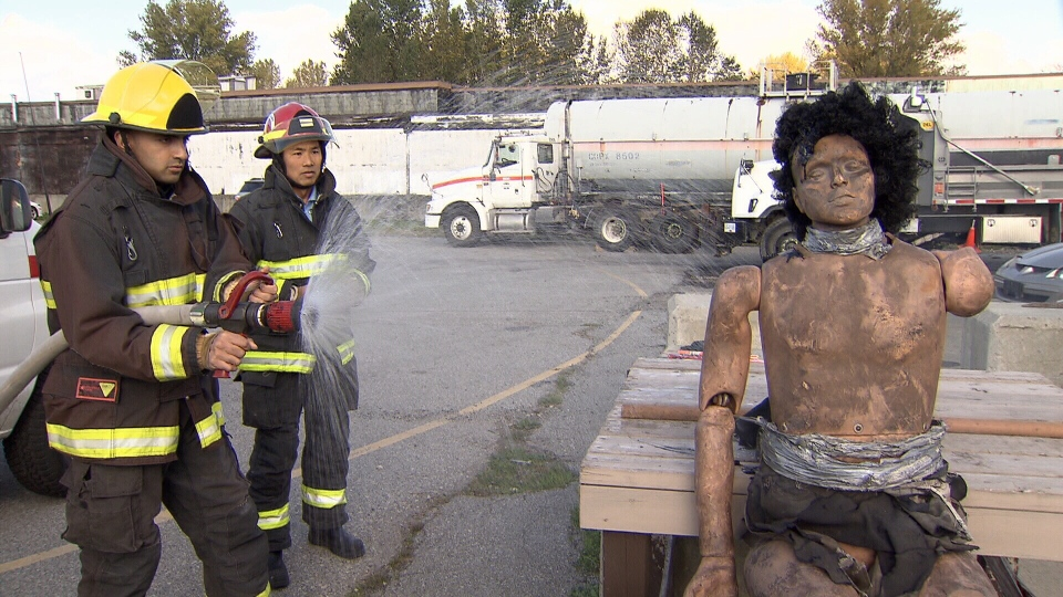 Vancouver firefighters conduct safety demonstratio