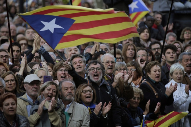 Pro-independence flags in Catalonia