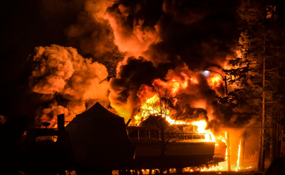 Fire engulfed the Port Elgin Harbour following an explosion on Tuesday, Oct. 27, 2015. (Michael Johnson Photography)