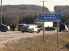 Provincial police investigate a fatal crash on Highway 26 in Meaford, Ont. on Tuesday, Oct. 27, 2015. (Roger Klein/ CTV Barrie)