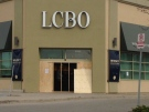 Repairs are underway after a break-in at the LCBO at 3050 Wonderland Rd. S. in London, Ont. on Tuesday, Oct. 27, 2015. (Gerry Dewan / CTV London)