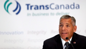 TransCanada CEO Russ Girling attends a news conference in Calgary, Alta., on Thursday, Aug. 1, 2013. (Jeff McIntosh/The Canadian Press)