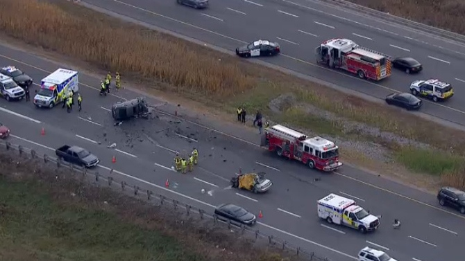Three people are without vital signs after a collision on Highway 404 north of Toronto, Ontario Provincial Police say.