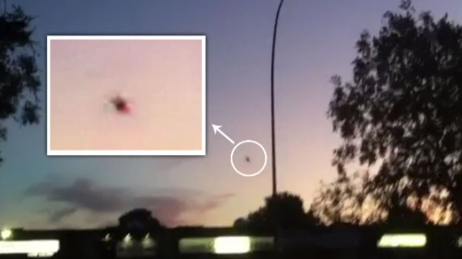 "Canadian UFO researcher Chris Rutkowski identified Ken Graham's UFO sighting, pictured, as ""probably a drone."""