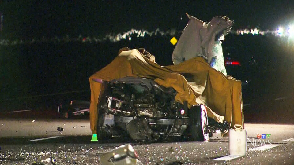 Three people are dead after a collision on Highway 404, near Stouffville, Ont. on Tuesday, Oct. 27, 2015.