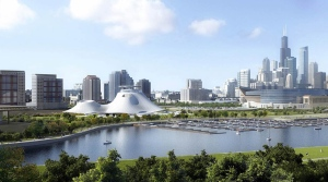 This file artist rendering released Sept. 17, 2015, by the Lucas Museum of Narrative Art shows the proposed museum, left center, in Chicago. (Lucas Museum of Narrative Art via AP)