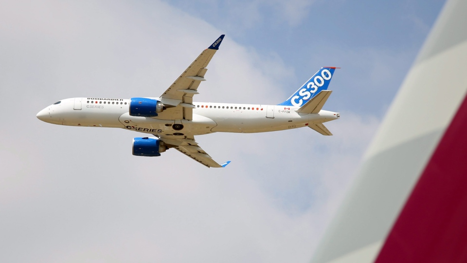 The Bombardier CS300 performs its demonstration flight at the Paris Air Show in Le Bourget, north of Paris, on Wednesday, June 17, 2015. (AP Photo/Remy de la Mauviniere)