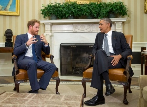 U.S. President Barack Obama meets Britain's Prince Harry, left, in the Oval Office of the White House in Washington, Wednesday, Oct. 28, 2015.( AP Photo/Manuel Balce Ceneta)