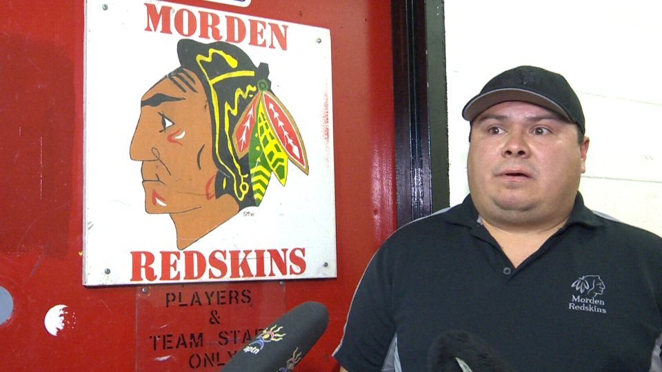 Brent Meleck, president of the Morden Redskins, stands in front of the team's dressing room in Morden, Man., on Oct. 28, 2015.