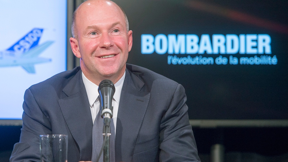 Alain Bellemare, president and Chief Executive Officer Bombardier Inc., speaks to the media at a news conference, in Montreal, Thursday, Oct. 29. (Ryan Remiorz  / THE CANADIAN PRESS)