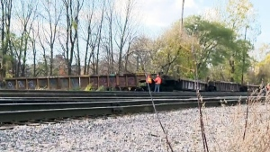 A freight train jumped the tracks on Oct. 29, 2015, hitting a home on Terrasse Thomas Valin
