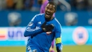 Montreal Impact's Patrice Bernier celebrates after scoring against the Toronto FC during first half Major League Soccer sudden death playoff game in Montreal on Thursday, October 29, 2015. THE CANADIAN PRESS/Graham Hughes