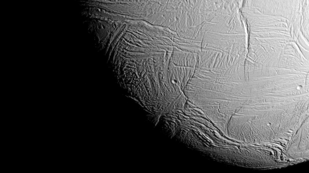 NASA's Cassini spacecraft captured this view as it neared icy Enceladus for its closest-ever dive past the moon's active south polar region. (NASA / JPL-Caltech / Space Science Institute)