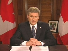 Prime Minister Stephen Harper delivers his addresss to the nation regarding the economic and political crisis from Ottawa on Wednesday, Dec. 3, 2008.