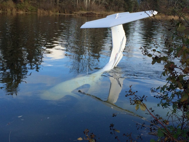 A pilot and passenger escaped without injury after their plane overshot a runway and skidded into a river at an airpark in Courtenay, B.C. Nov. 2, 2015. (Courtesy Janet Ellis)