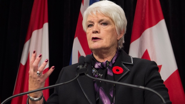 Ontario Education Minister Liz Sandals gives an update on labour negotiations with the Elementary Teachers Federation of Ontario at Queen's Park in Toronto, Monday, Nov. 2, 2015. (Frank Gunn / THE CANADIAN PRESS)
