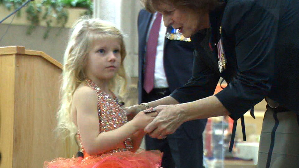 Alexis Shymanski has become the youngest Canadian civilian to receive a bravery medal from the Royal Canadian Humane Society.