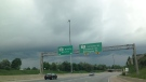 Storm clouds form over the Conestoga Parkway in Kitchener.
