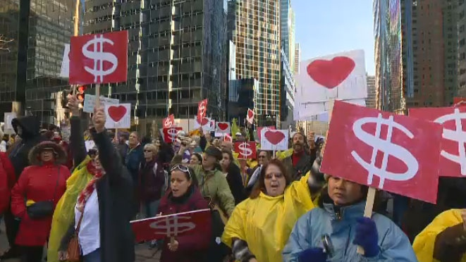 About 1,000 community groups shut their doors to protest cuts by Quebec's Liberal government.