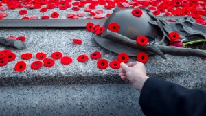 People place poppies at the Tomb of the Unknown Soldier following the Remembrance Day ceremony at the National War Memorial in Ottawa on Nov. 11, 2014. (Justin Tang / THE CANADIAN PRESS)