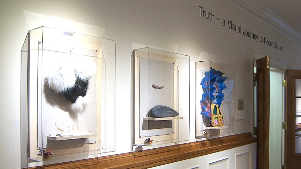 A display at the new National Centre for Truth and Reconciliation at the University of Manitoba, in Winnipeg, Tuesday, Nov. 3, 2015.