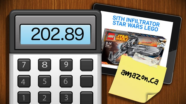 CTV found the Star Wars Sith Infiltrator Lego set on Amazon.ca and, with shipping, it will cost about $203.