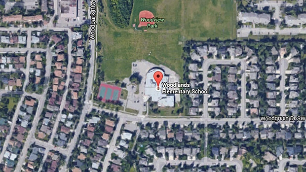 Woodlands Elementary in southwest Calgary has been evacuated after a carbon monoxide call at the school. (Google Earth)