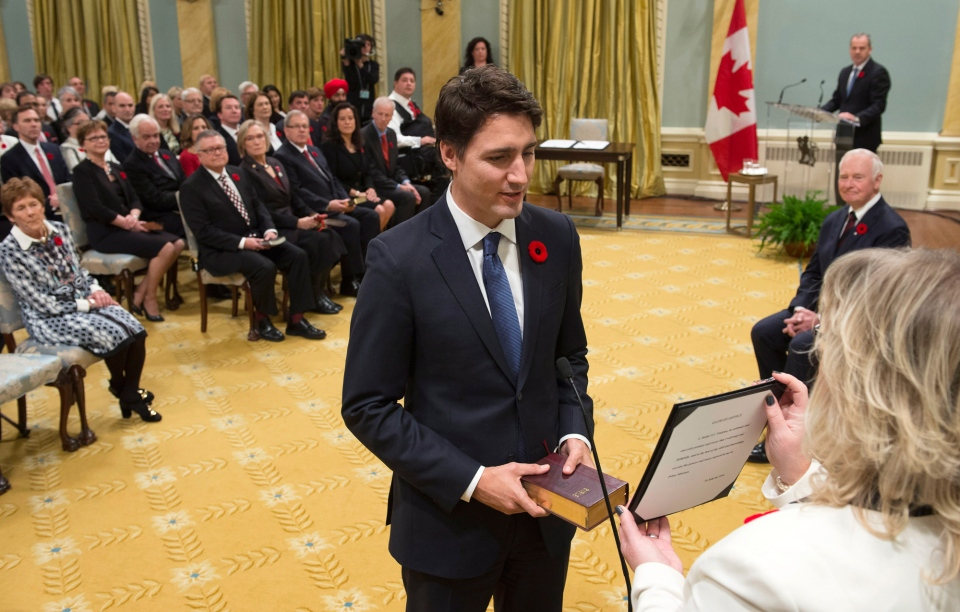 Justin Trudeau is sworn in as prime minister at Rideau Hall in Ottawa on Wednesday, Nov. 4, 2015. (Justin Tang / THE CANADIAN PRESS)