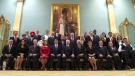 Prime Minister Justin Trudeau, Gov. Gen. David Johnston and cabinet ministers pose for a photo after a swearing in ceremony at Rideau Hall in Ottawa, Wednesday, Nov. 4, 2015. (Adrian Wyld / THE CANADIAN PRESS)