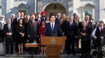 Prime Minister Justin Trudeau holds a news conference with his cabinet after they were sworn-in at Rideau Hall, the official residence of Governor General David Johnston, in Ottawa, Wednesday, Nov. 4, 2015. (Fred Chartrand / THE CANADIAN PRESS)