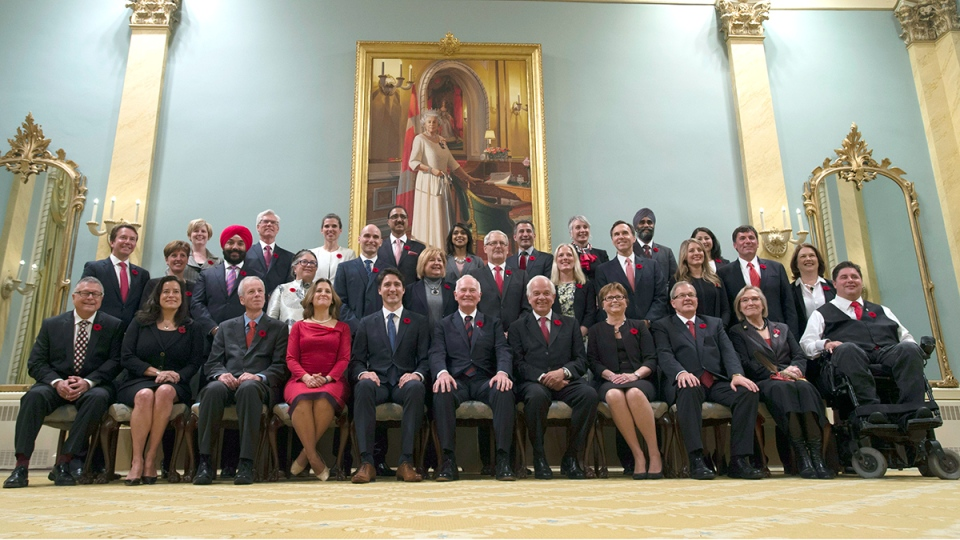 Prime Minister Justin Trudeau and his cabinet pose for a photo inside Rideau Hall in Ottawa, Wednesday, Nov. 4, 2015. (Adrian Wyld / THE CANADIAN PRESS)