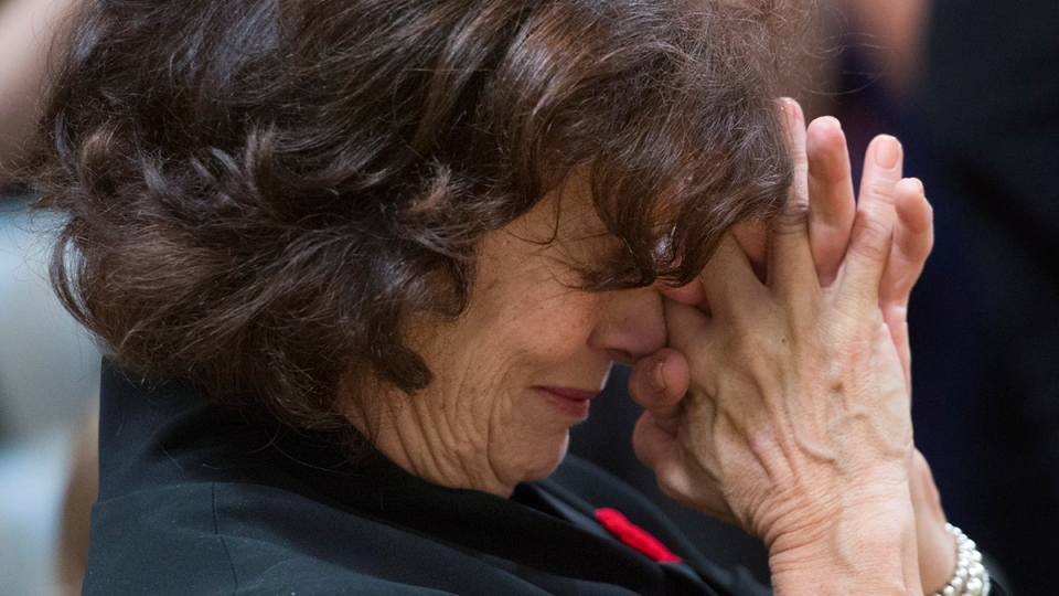 Prime Minister Justin Trudeau's mother Margaret reacts to her son being sworn in during a ceremony at Rideau Hall in Ottawa on Wednesday, Nov.  4, 2015. (Sean Kilpatrick / THE CANADIAN PRESS)