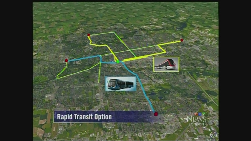 A map indicates the bus and light rail routes proposed as part of the rapid transit plan for London, Ont.
