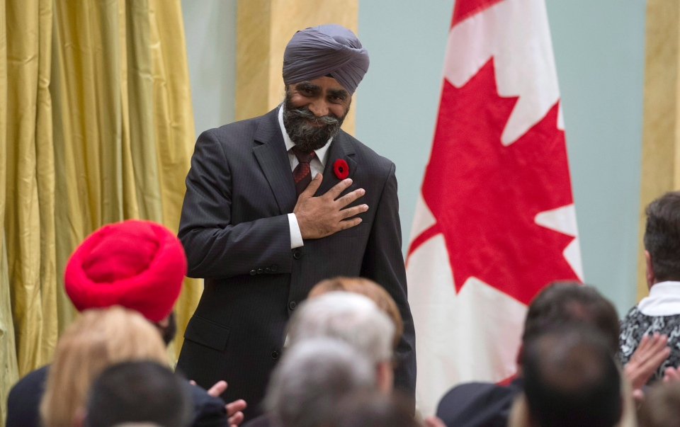 Defence Minister Harjit Singh Sajjan reacts after being sworn in during a ceremony at Rideau Hall, Wednesday Nov.4, 2015 in Ottawa. (Justin Tang / THE CANADIAN PRESS)