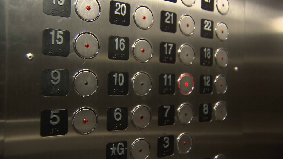 A building elevator that has missing 'unlucky' floors is shown in Vancouver. (CTV)
